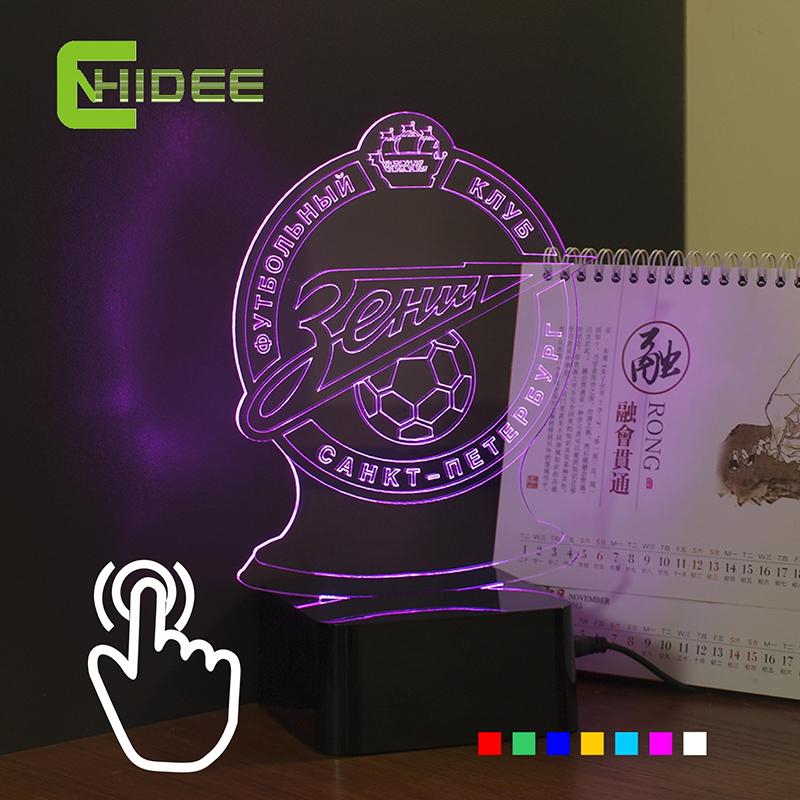 CNHIDEE Novel USB 3D Night Lights for Petersburg Zenit Football Team Fans Futbol Lamp as Home lighting Decorative RGB Nightlight(China (Mainland))