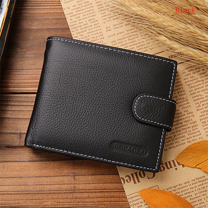 Free Shipping Luxury Men's Genuine Cow Leather Bifold Clutch Credit/ID Card Holder Wallet Coin Purse With Buckle(China (Mainland))
