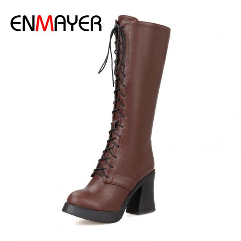 ENMAYER new fashion women boots high heels round toe lace up gladiator boots platform shoes women knee high motorcycle boots<br><br>Aliexpress