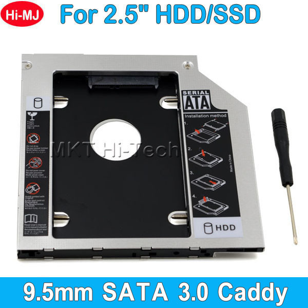 """Hot Sale Universal Aluminum 2nd HDD Caddy 9.5mm 2.5"""" SATA 3.0 SSD Case HDD Enclosure for Notebook ODD CD DVD ROM Optical Bay(China (Mainland))"""