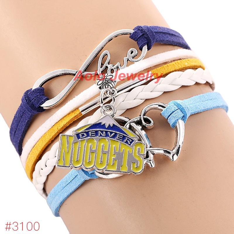 Infinity Love Denver Basketball Team Bracelet 2016 New Arrival Leather Bracelet 6Pcs/Lot ! Free Shipping!(China (Mainland))