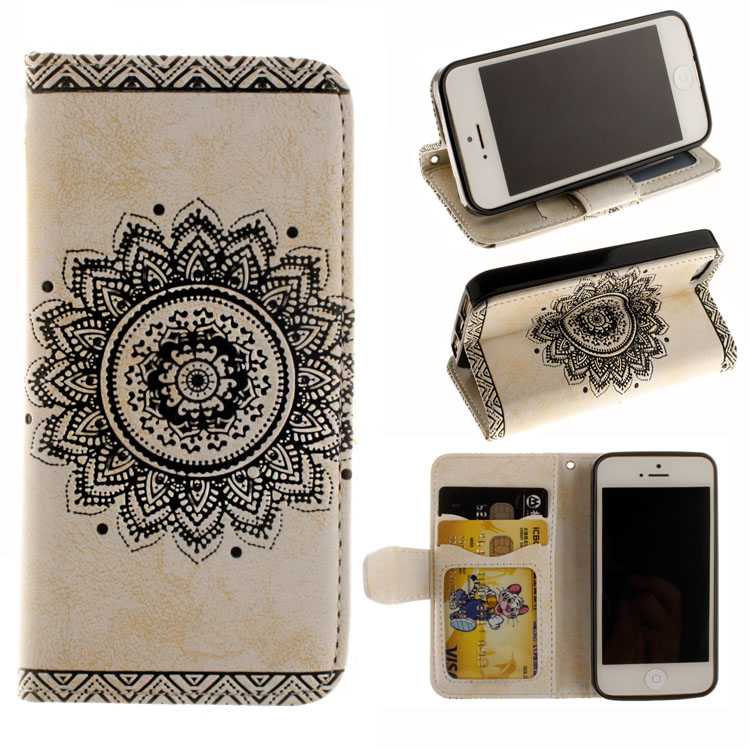 1PCS sell best Circle flower logo Cell Phone etui for iPhone 5 5s se 5g telephone lanyard wallet leather phone case(China (Mainland))