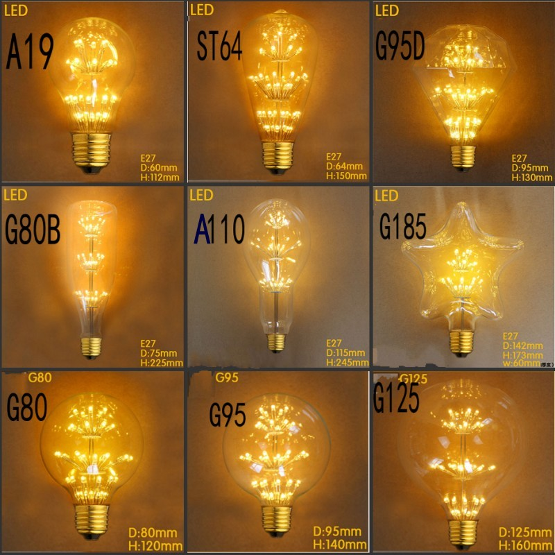 Vintage Antique Style Light Bulbs E27 Incandescent Bulbs ST64 G80 A19 G95 G125 Star Decorative Retro LED Light 110V 220V New(China (Mainland))