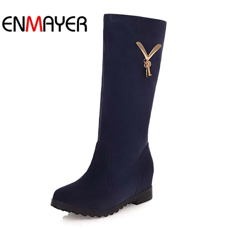 ENMAYER Big Size Fashion Women's Snow Boots Hidden Wedges Shoes Autumn Winter Boot Womens Plus