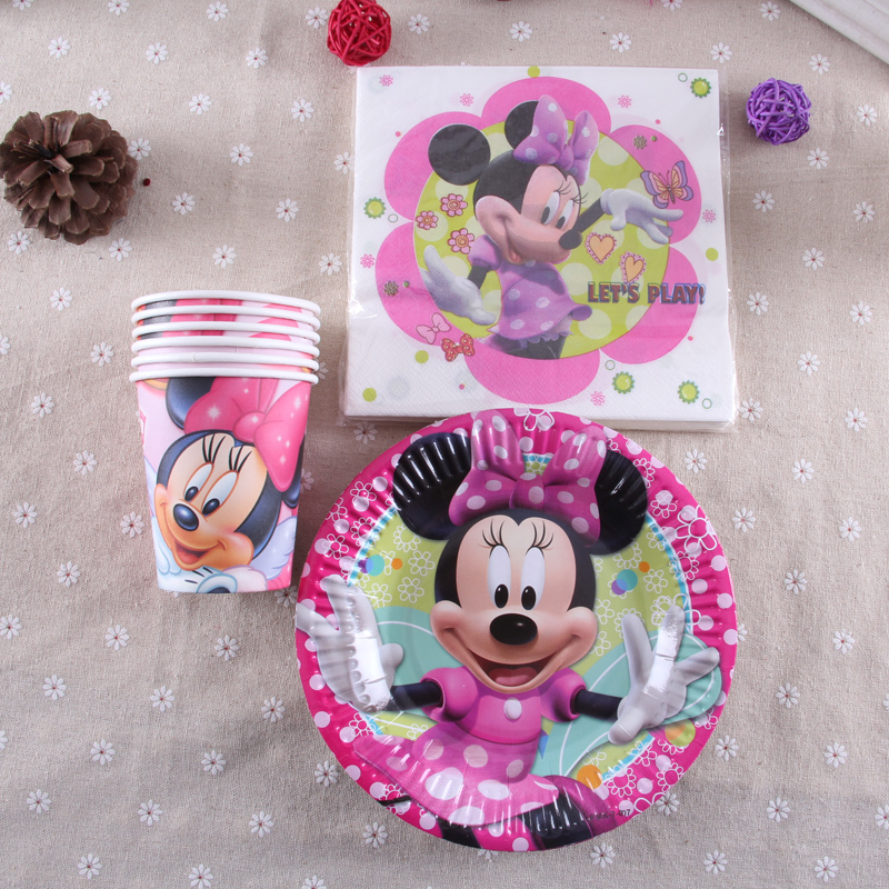 MK09,36pcs Minnie Mouse movie kids birthday party decoration kits cups+plates+ napkins Minnie Mouse party supplies(China (Mainland))