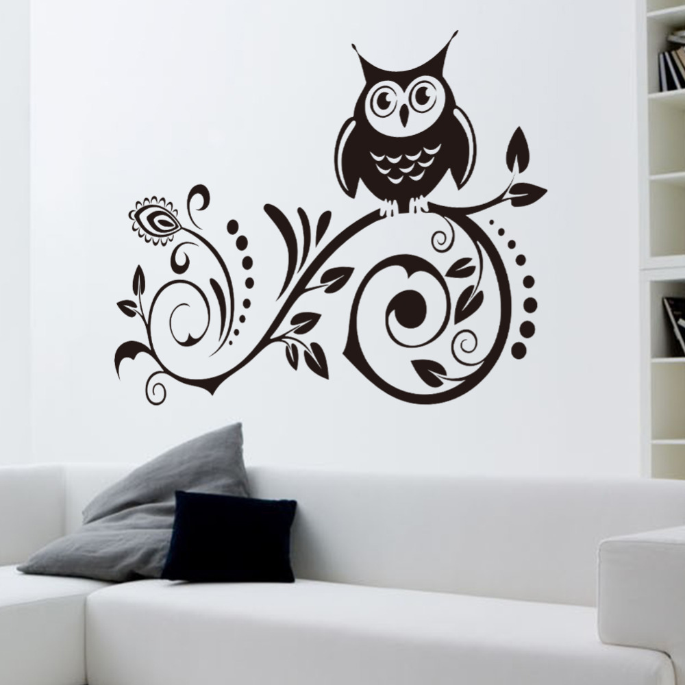 2014 New Beautiful Home Decoration Wall Stickers Tv Wall Background Wallpaper Owl Flower Vine