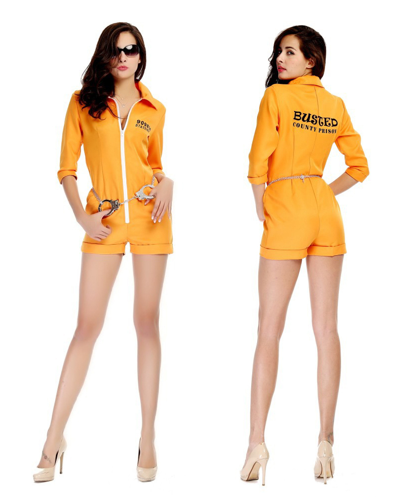 Hot sale Halloween party cosplay hight quality Female prisoner costumes adult cos female Jumpsuits yellow game play colthing(China (Mainland))