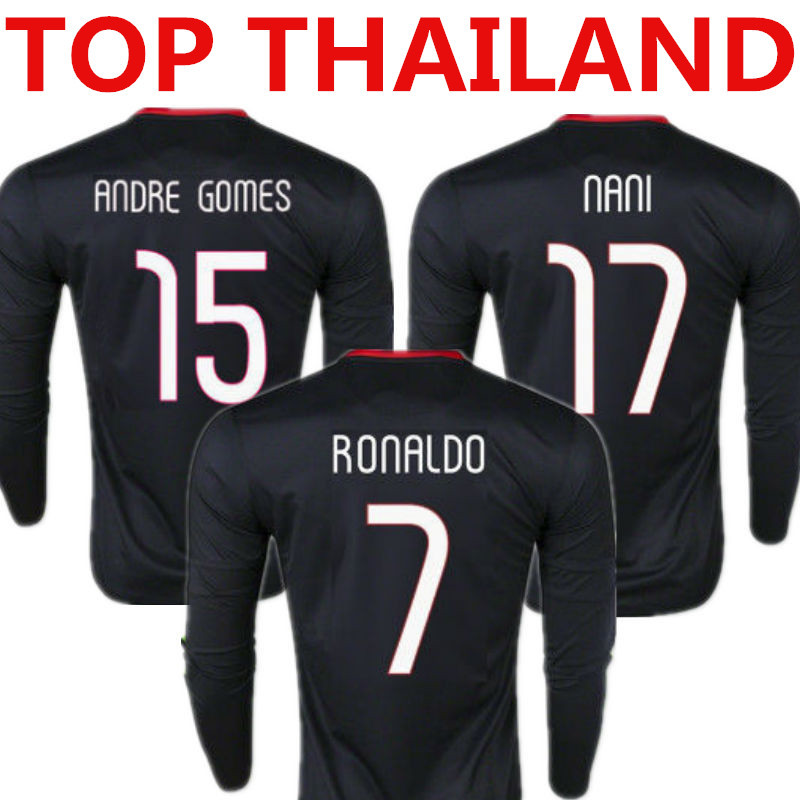 Top Thailand Quality Ronaldo Long Sleeve Jersey 2015 Camisas Futebol 15 16 FIGO NANI Full Soccer Jersey Away Black Shirt 2016 LS(China (Mainland))