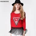 Winter Women Pullovers Sweater with deer 2016 New Fashion Cute Deer Printing Tassel Casual pull femme