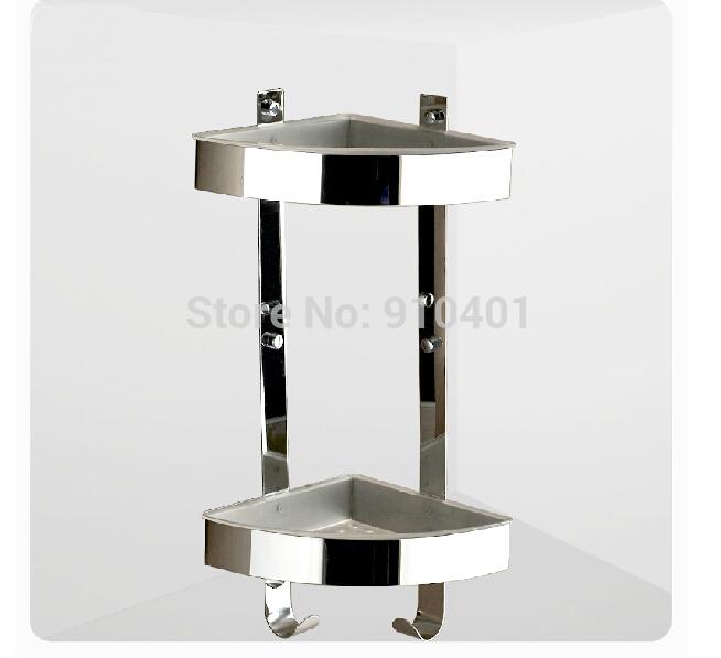 Stainless steel bathroom shelf chrome corner shelf 2 tiers - Bathroom corner caddy stainless steel ...