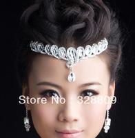 2016 New Fashion Shiny Silver  water drop crystal bridal tiaras Trendy Rhinestone headband for bride wedding hair accessories