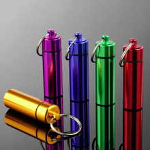 2ps Aluminum Pill Box Case Bottle Cache Drug Holder Container Keychain Medicine Box Waterproof Health Care Hot Sales(China (Mainland))