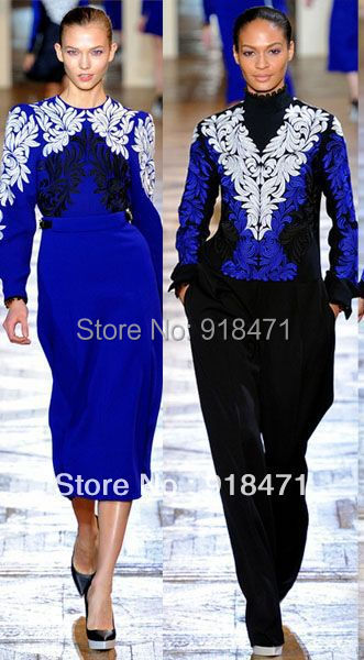 Free Shipping! 2013 autumn winter runway style quality wool full sleeve women  mid-calf  geometric embroidery dressesОдежда и ак�е��уары<br><br><br>Aliexpress