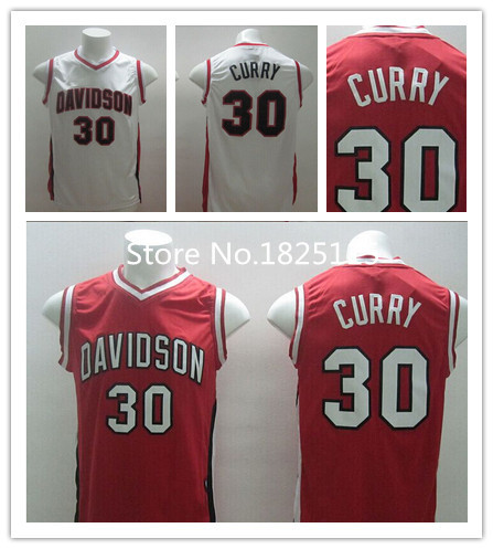 Golden State #30 Stephen Curry Jerseys Cheap Steph Curry Davidson College Basketball Jersey Red White New Material(China (Mainland))