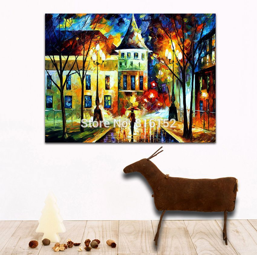 Buy Walking in Night Street-100% Hand-painted Palette Knife Architecture Painting Canvas Wall Hangings Home Wall Decor Art No Frame cheap