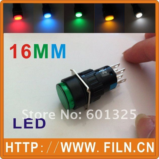 50pcs lot 16mm round Momentary LED illuminated push button switch 1NO1NC