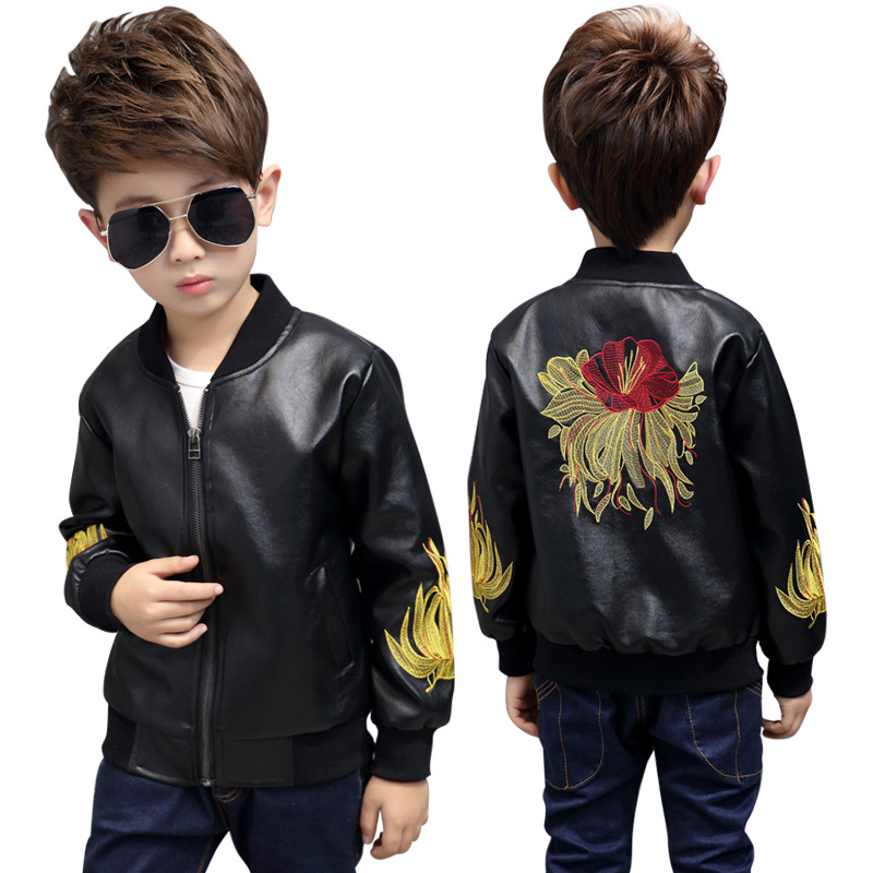 2017 New Fashion Baby Boys Leather Jacket Kids Coats Spring Jackets Boys Casual Black Solid Children Outerwear Free Shopping(China (Mainland))