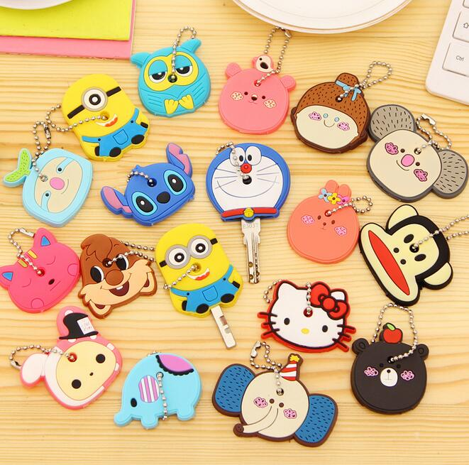 Large Size Cartoon Anime Silicone Cute Hello Kitty&Minion Owl Key Cover Cap Fashion Keychain Chain Ring Holder Christmas Gifts(China (Mainland))