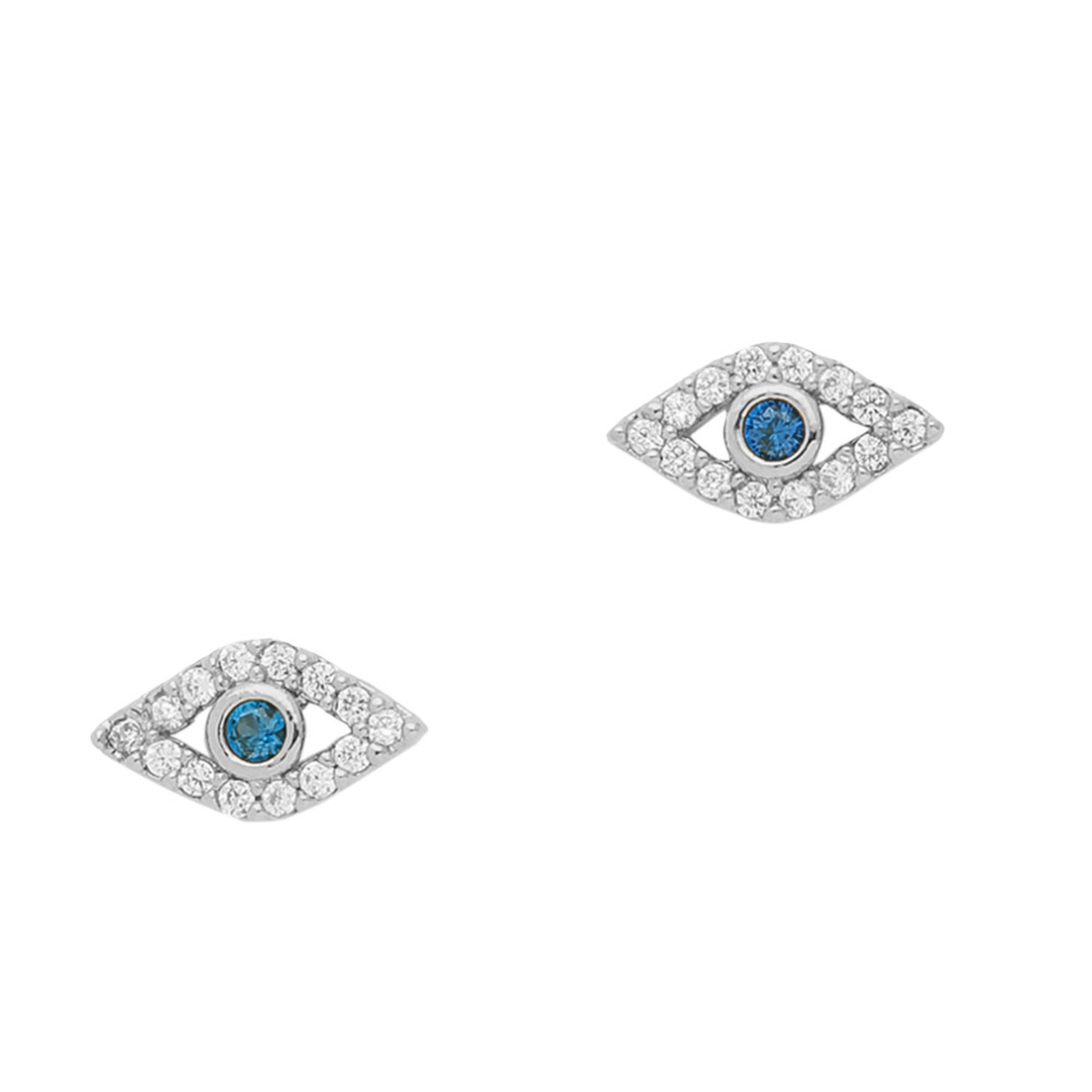 High Quality Crystal Zircon Stud Earrings For Women Plated Silver/Gold Engagement Wedding Blue Sapphire Evil Eye Earring Jewelry(China (Mainland))