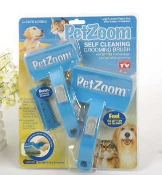 Free shipping, wholesale,TV shopping, Petzoom self clanning grooming brush, 10pcs/lot