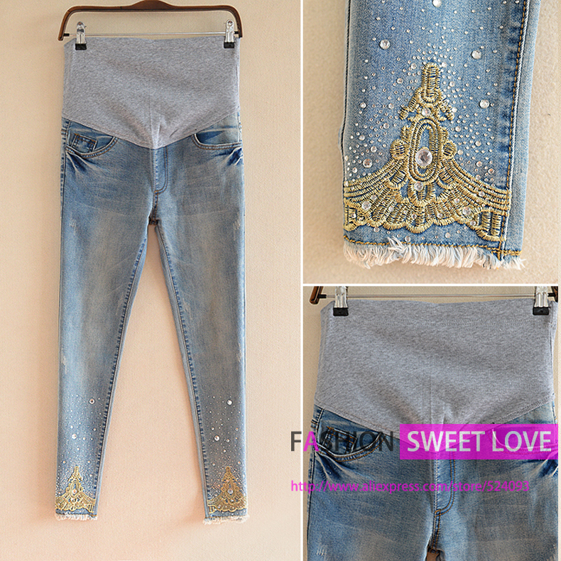 Hot sell Embroidery Maternity Jeans Plus Size High Waist Pants Maternity Clothes Pregnant women Clothing cal?a jeans feminina(China (Mainland))