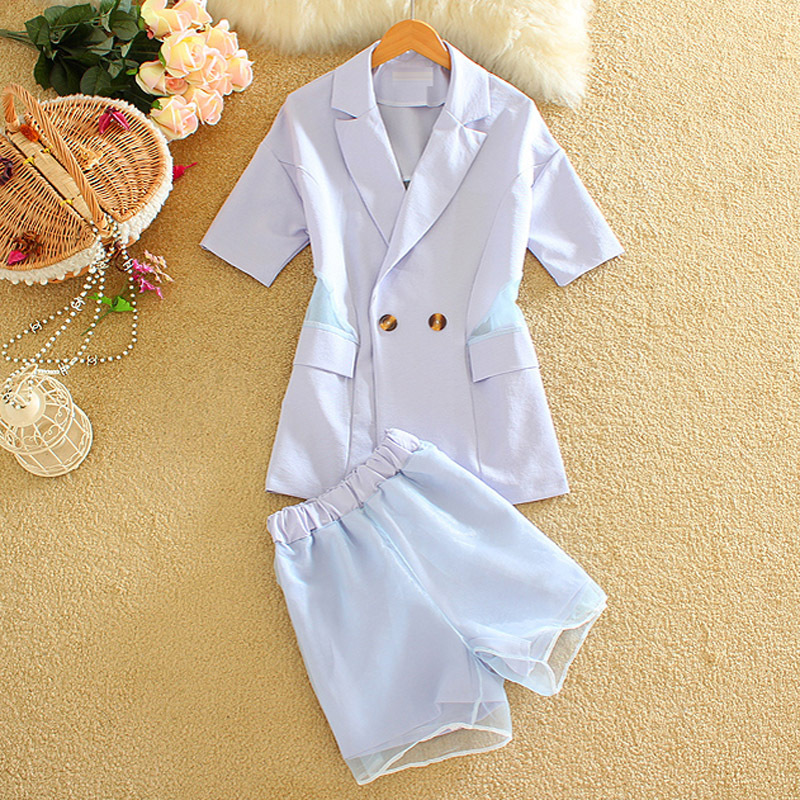 Alpha 2016 Summer Women Shorts and Blazer 2pcs Suits Single Button Short-sleeved Perspective Back Casual Jacket Outfit +Shorts(China (Mainland))