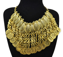 Bohemian Jewelry Choker Collar Necklace Carved Flower Coin Tassels Statement Necklaces Turkish Gypsy Ethnic Tribal Belly Dance