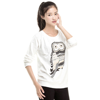 S-M-L XL New Autumn Casual Cute White Owl Animal Print Beading Hoodies Pullover for Women High Quality
