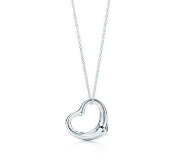 "Elsa Peretti Most Celebrated Icon,Open Heart Pendant Charm and Chain Necklace,In 925 Sterling Silver,Size medium,On an 18"" Chain"