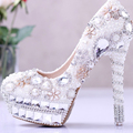 White Luxurious Pearl and Crystal Platform Wedding Shoes for Bridal and Prom Pumps genuine leather party