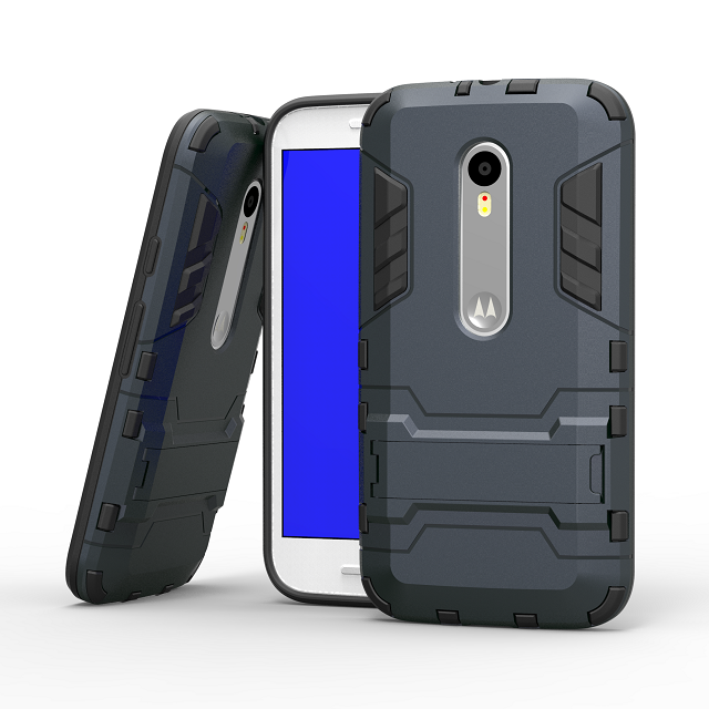For Motorola MOTO G3 G 3nd Gen XT1552 Plastic+TPU 2 in 1 Stand Impact Armor Shield Iron Man Case Cover For MOTO G 3 2015 Cases(China (Mainland))
