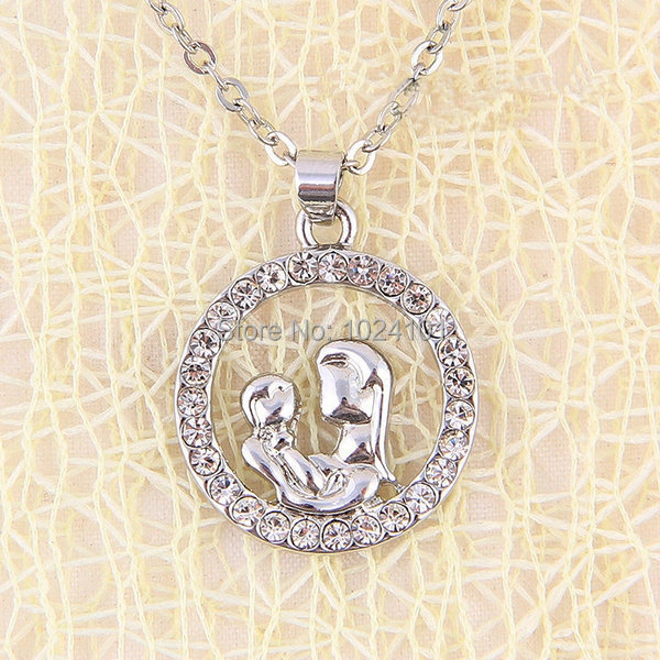 Baby Gift Jewelry For Mom : Hot sale wholesale silver mother hold baby pendant