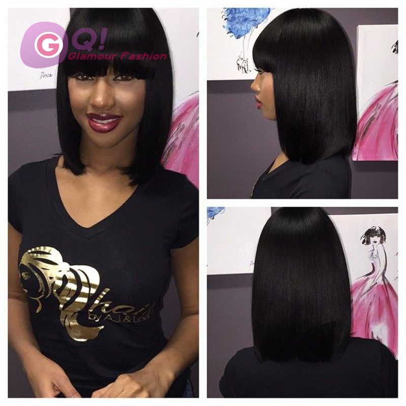 GQ 100% virgin brazilian human hair bob wigs with chinese bangs short bob lace front wigs glueless full lace wig for black women(China (Mainland))