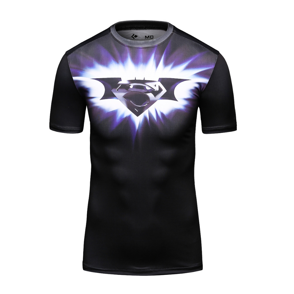 2016 New Design Short Sleeve O-Neck Quick Drying 3D Superman/Batman T Shirt Men's Compression Tight T-Shirts(China (Mainland))