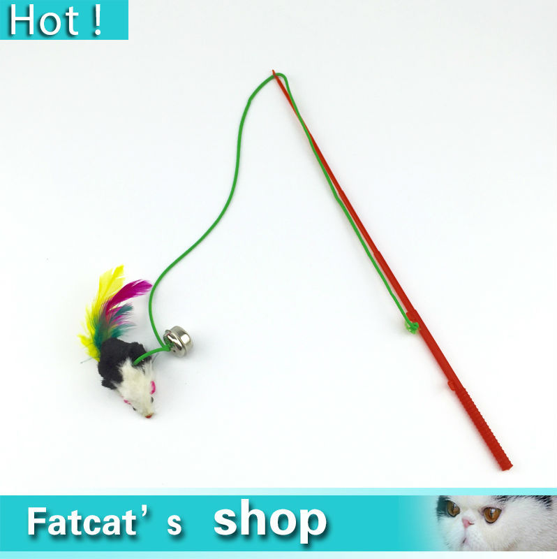 Super dea Cat toy mouse For pet Cat Bell The dangle faux mouse roped rod funny  playing Play toy Plastic Feather Free shipping(China (Mainland))