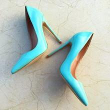 Senhoras designer sapatos femininos tão agradável kate 12 cm/10 cm/8 cm couro patente azul stiletto sapatos de salto alto moda casamento bombas(China)