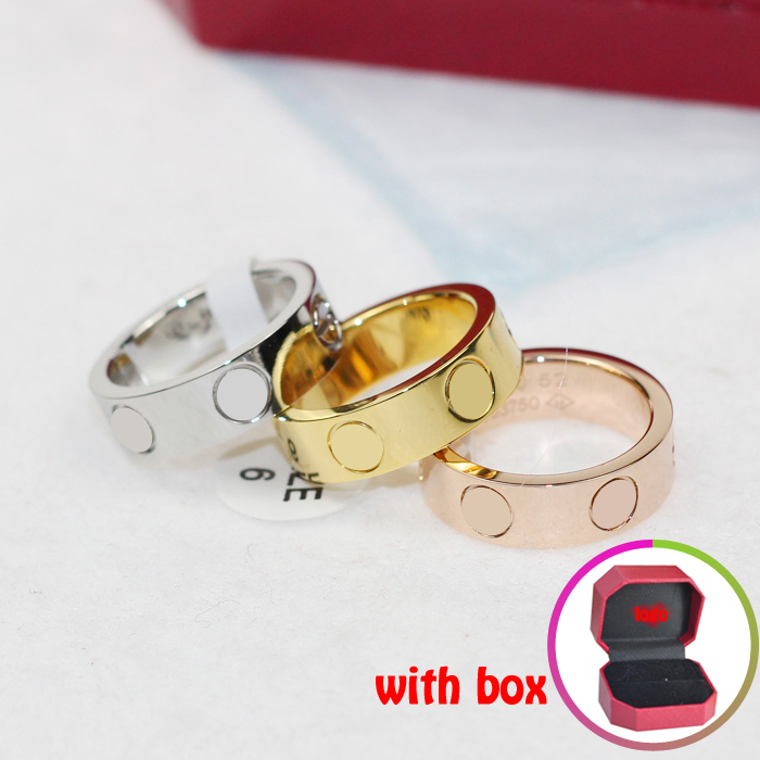 2015 top sell titanium steel love rings rose gold Carter rings whit box jewelry lover Valentine gift for women couple ring(China (Mainland))
