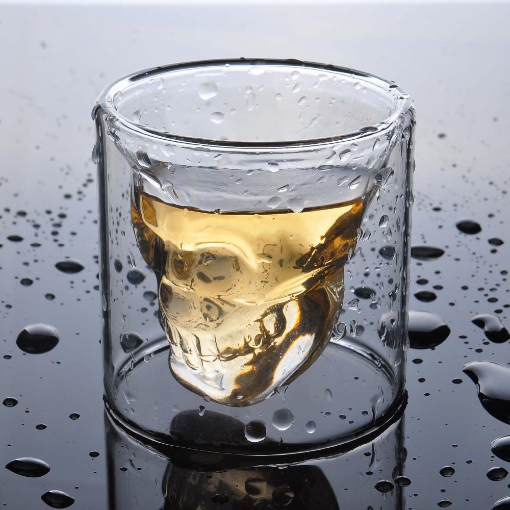 2pcs/lot double layers 70ml Novelty Cup Doomed Crystal Skull Shot Glass Crystal Skull Head Vodka Shot Wine Glass(China (Mainland))