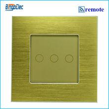3 gang дистанционного переключатель с функцией дистанционного 433.92 мГц, Золотой алюминий и стекло панель касание переключатель, Ес / великобритания, Ac110-250v