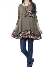 2015 New Autumn Mori Girl Sweet Kawaii Lolita Korean Party Linen Patchwork A Line Full Sleeve
