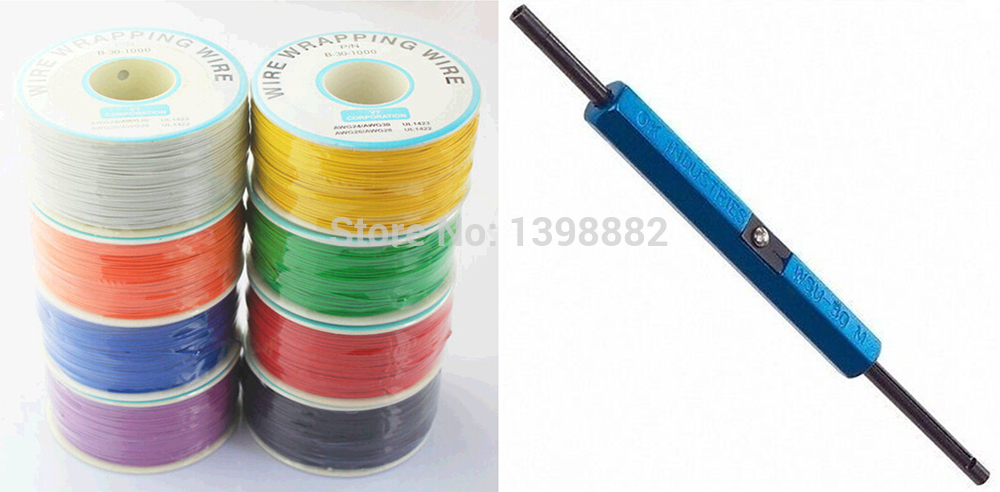 1PCS 305 meters long electrical wire line high quality 30awg ok line + Wire Wrap Strip Unwrap Tool(China (Mainland))