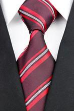 NT0169 Red Black Stripe Smooth Jacquard Woven Classic Elegant Silk Polyester Mans Business Wedding Luxury Tie