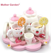 2016 Classic Baby Toy Learning Education Mother Simulation Wooden Tea Garden Strawberry Children Play Kitchen Toys kid's Kitchen(China (Mainland))