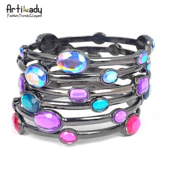 Artilady vintage crystal bangle set  fashion stack  bangles bracelet party jewelry