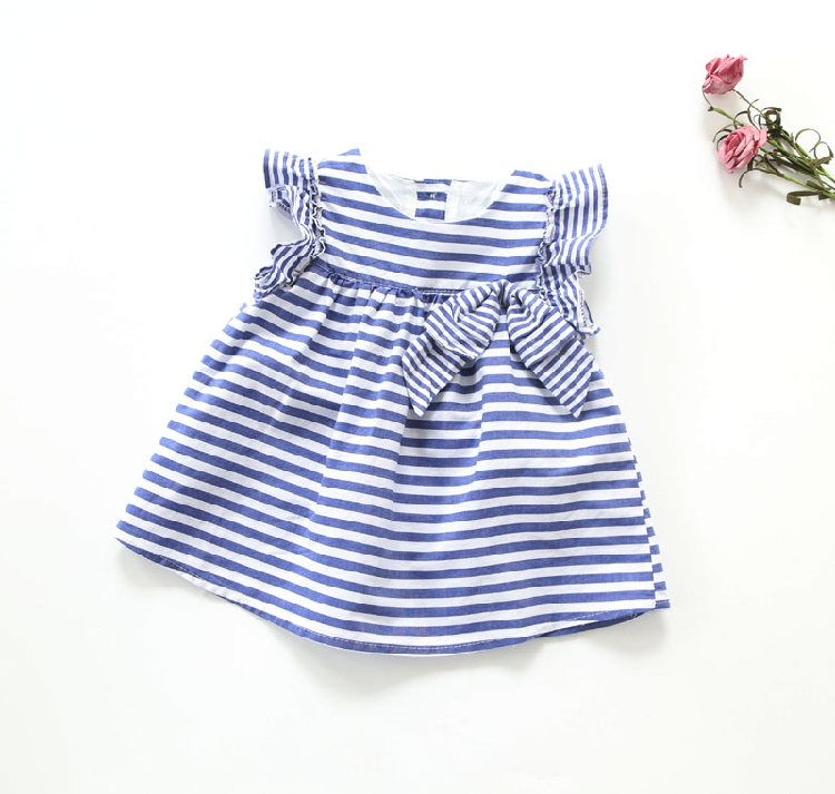 european designer big bow baby princess 2016 summer striped dress girls years packaging products(China (Mainland))