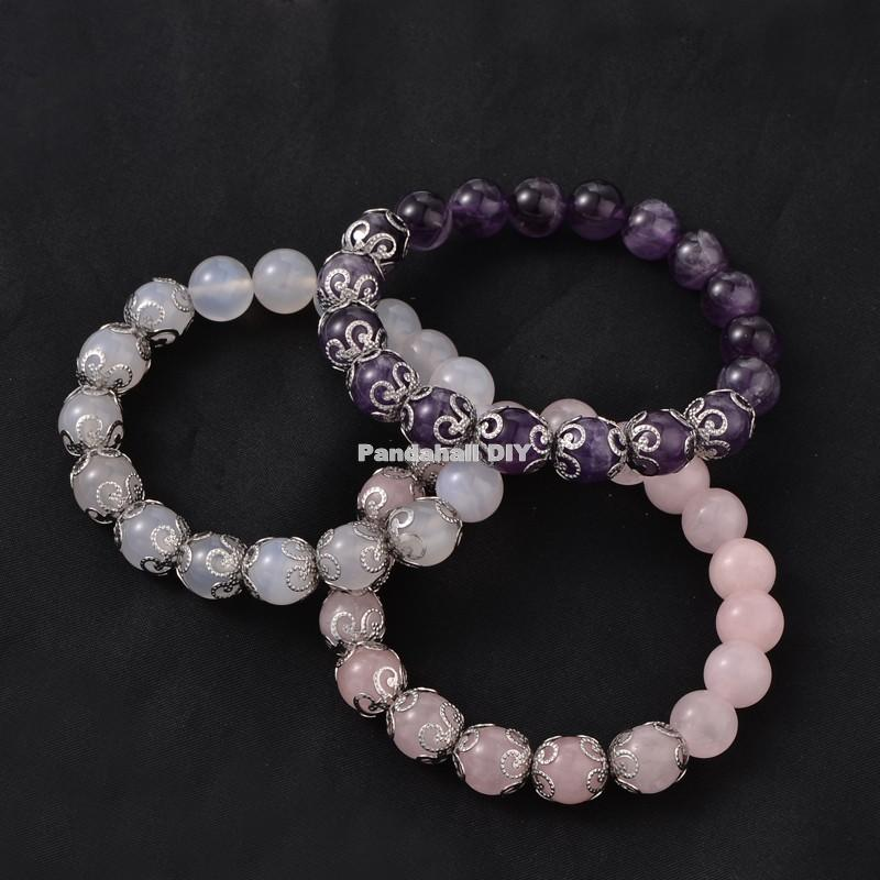 round natural stone bead strench bracelets, with stainless steel findings, mixed stone, 50~55mm<br><br>Aliexpress