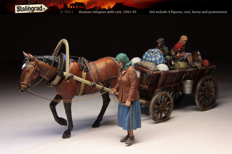 Stalingrad S-3011 Russian refugees with cart (Set include 4 figures cart horse and possessions) Resin Model Kit Free Shipping<br><br>Aliexpress
