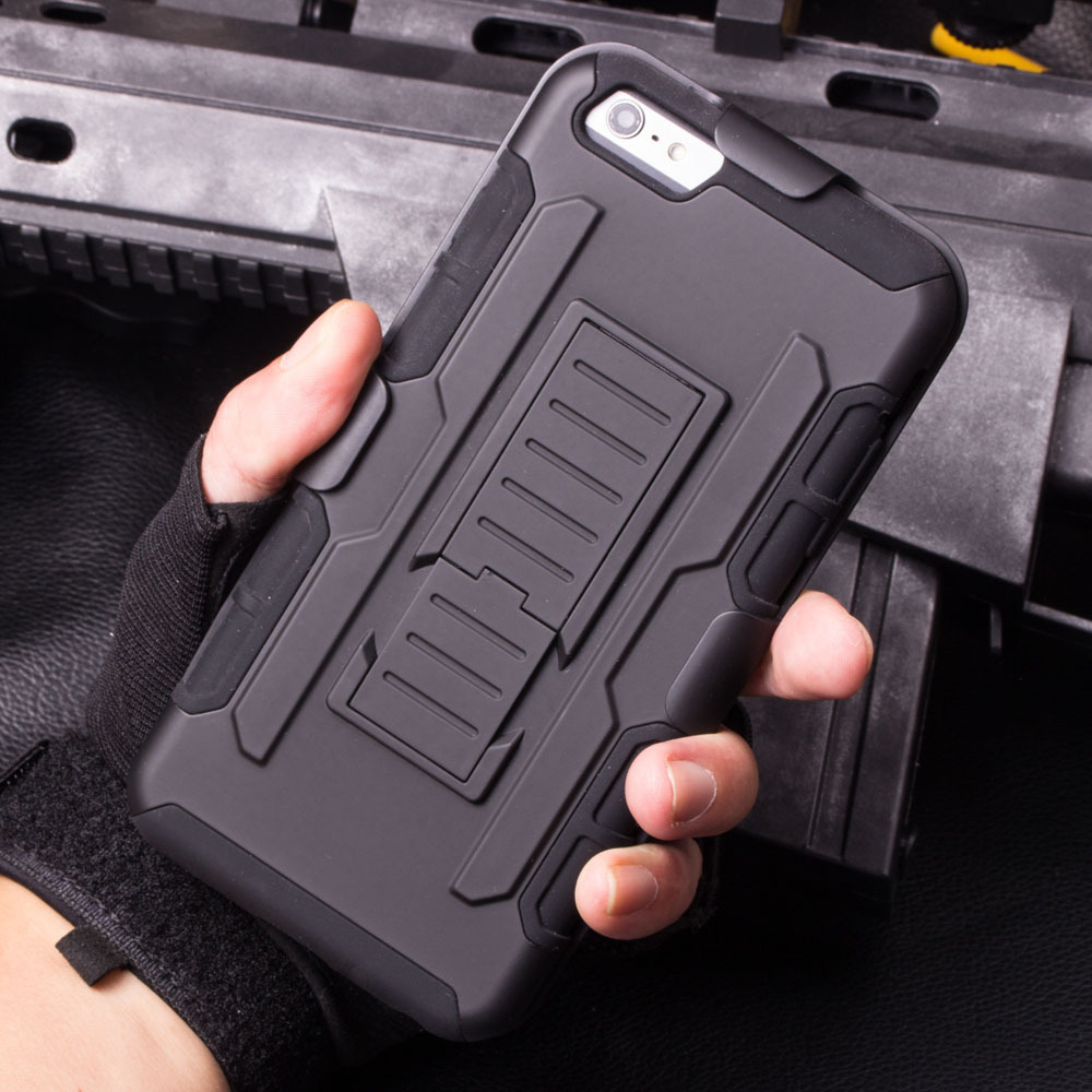 Armor Hybrid Dual Layer Holster Case for iPhone 6 6Plus 5s 4s 3D Kickstand & Locking Belt Clip Cover for S6 S5 S4 S3 Note4 Note3(China (Mainland))