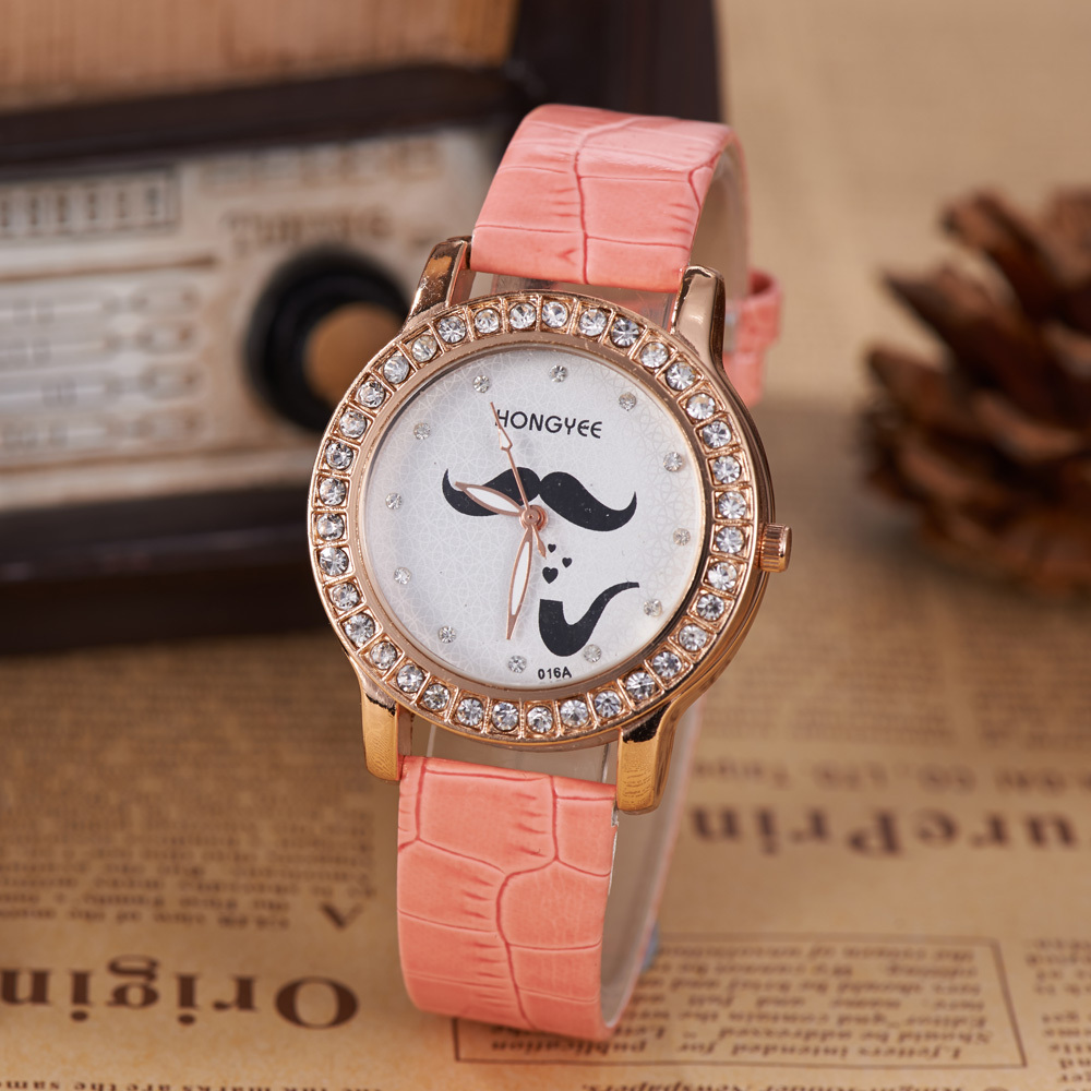 New Women's Fashion Watch Round Dial Diamond Popular Moustache Element Pink Leather Strap Watch Hot Watches With Gift Box(China (Mainland))