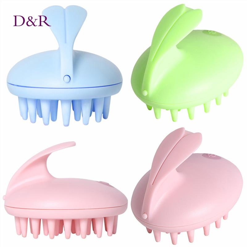 Electric Cute Rabbit Head Massager Magic Shampoo Massage Comb Bath Massage Brush Scalp Massager Head Hair Care Vibrating Brush